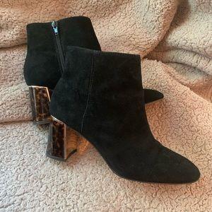 Ann Taylor Black Booties w/ Tortoise Heel SIZE 7